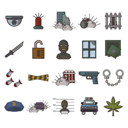 Satz von Verbrechen Symbole Standard-Bild - 79152134