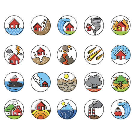 set of natural disaster icons Çizim