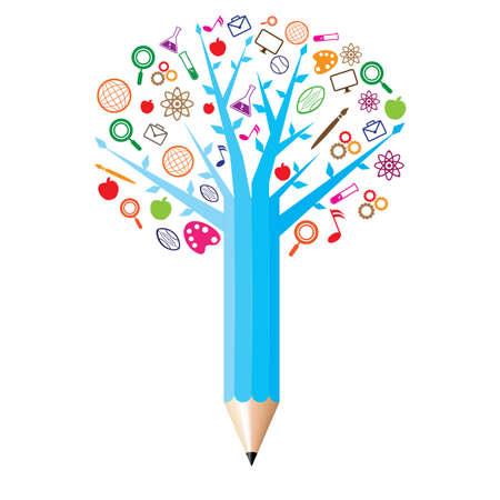 lápiz con concepto de iconos académicos