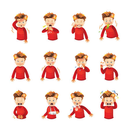 collection of boy feeling sick