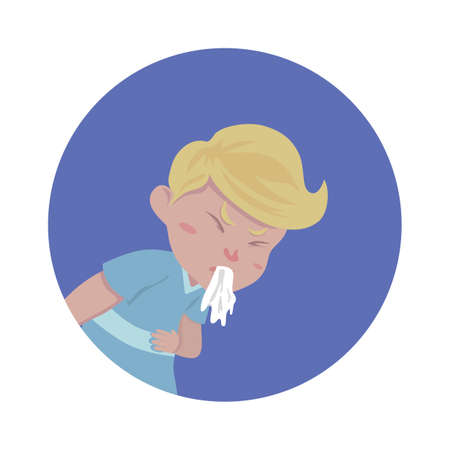 boy vomiting Ilustração