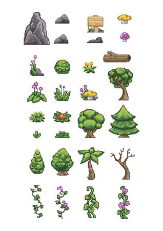 collection of pixelated icons