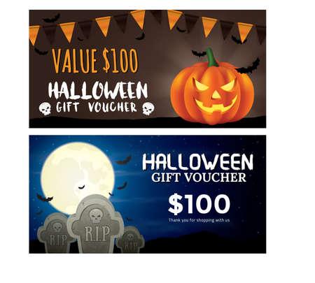 halloween voucher ontwerp Stock Illustratie