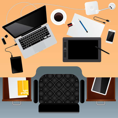 office workspace design Иллюстрация