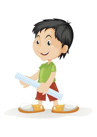 human boy holding a ruler