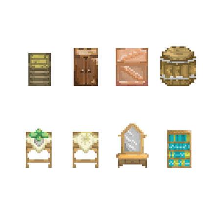Verzameling houten meubels