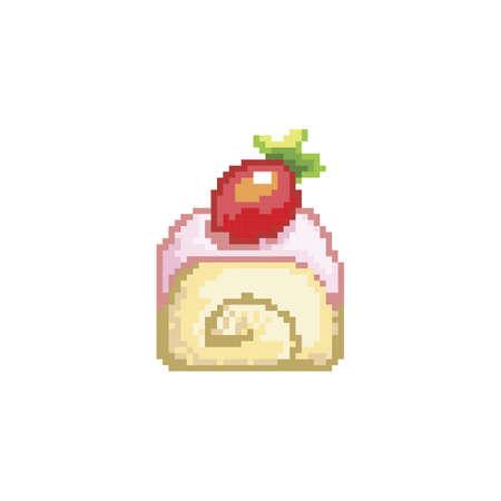 strawberry cake roll Ilustração