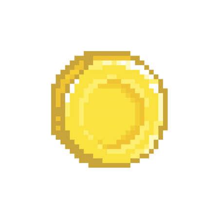 pixelated gold coin Ilustração