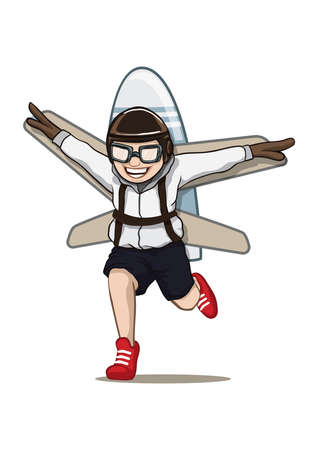 boy with a plane on his back concept