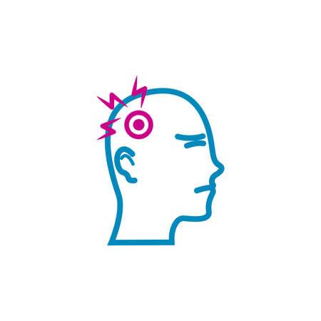hoofd met hoofdpijn concept