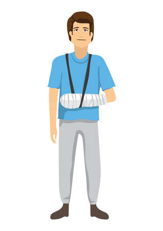 骨折した腕のコンセプトを持つ男