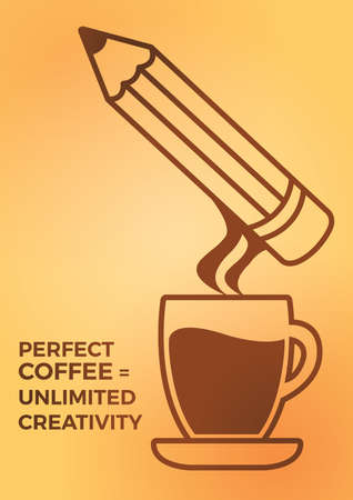 perfect coffee is unlimited creativity design Illustration