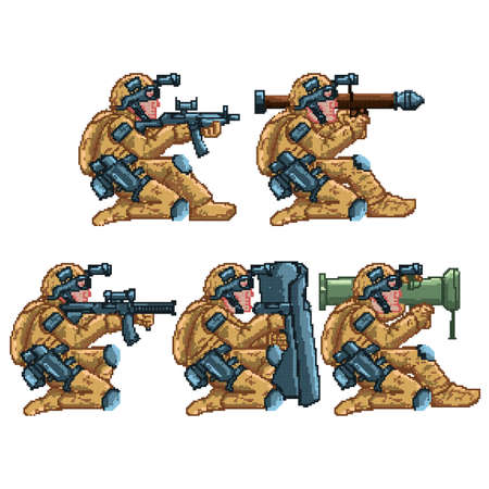 set of game soldier characters Illustration