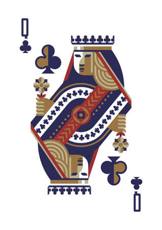 queen of clubs: queen of clubs Illustration