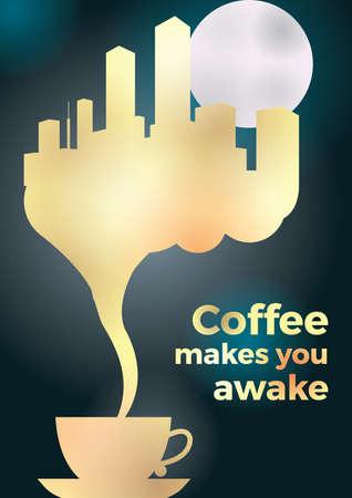 coffee makes you awake design Illustration