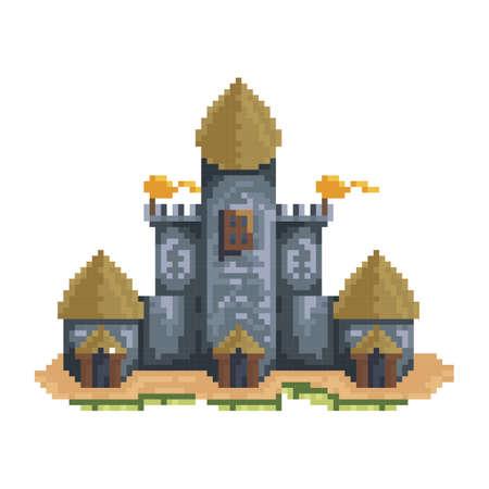 pixelated castle structure Illustration