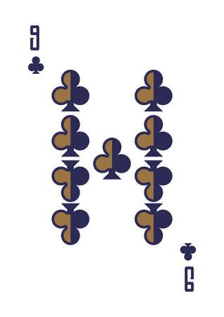 nine of clubs Иллюстрация