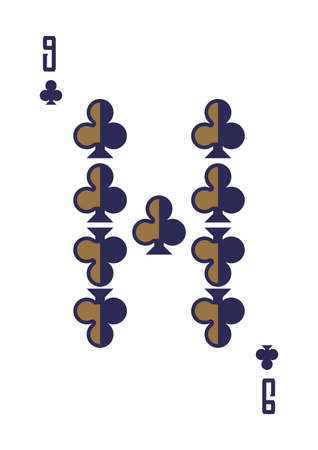 nine of clubs Illustration