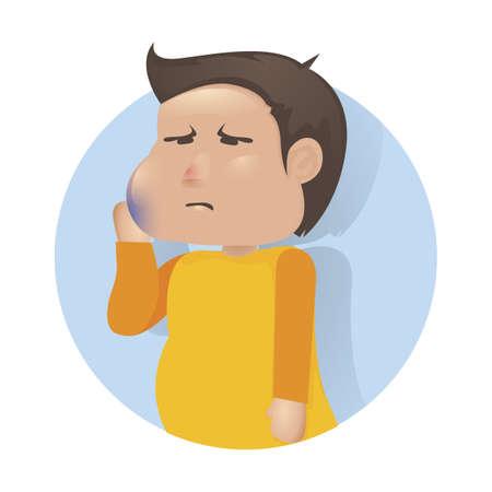 Menschlicher Junge mit Zahnschmerzkonzept Standard-Bild - 79151626