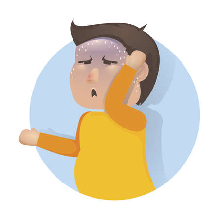 human boy with headache concept Illustration