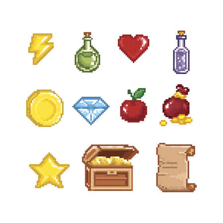 collection of pixelated game items