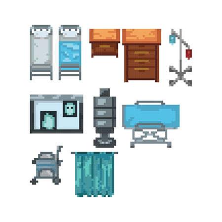 collection of hospital furniture Illustration