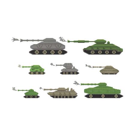 verzameling van militaire tanks Stock Illustratie