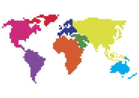 pixelated world map