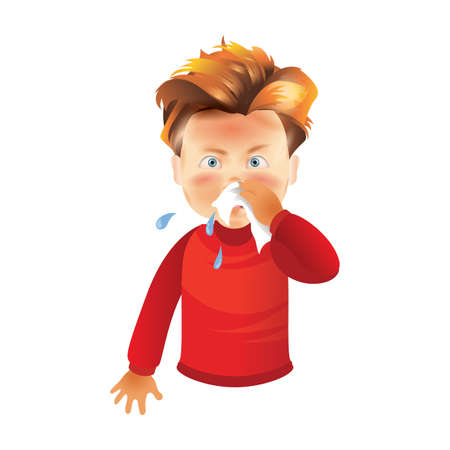 boy with runny nose Ilustracja