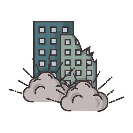 buildings under attack Stock Vector - 79152842