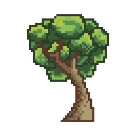 pixelated green tree