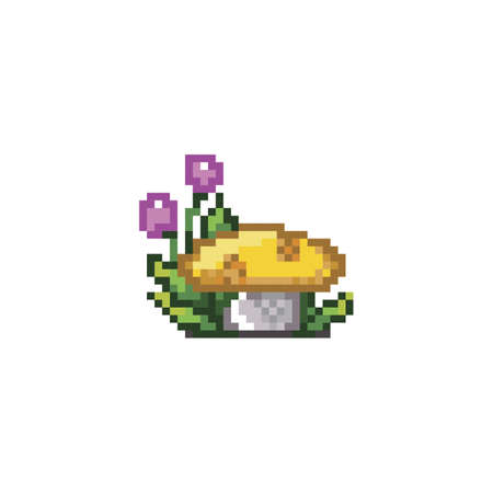 spore: pixelated flower plant and mushroom Illustration