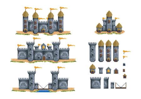 pixelated castle structures set Vector Illustration