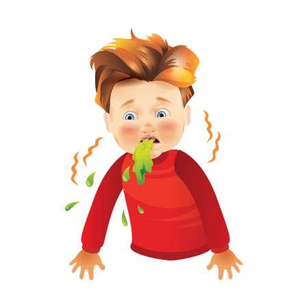 boy vomitting Illustration