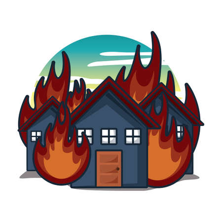 houses on fire Stock Vector - 79213165