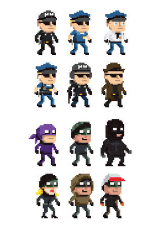 collection of law enforcement and criminal icons