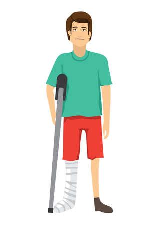 骨折した足の概念を持つ男  イラスト・ベクター素材