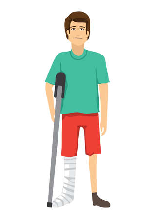 homem com conceito de perna quebrada Ilustración de vector