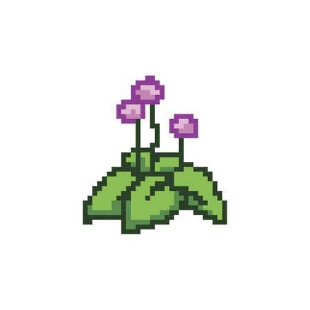 pixelated flower plant 向量圖像