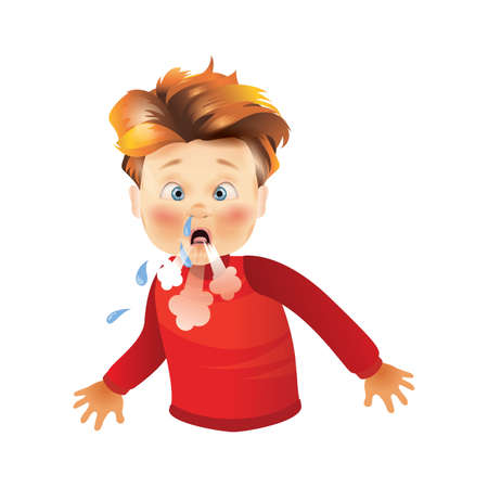 boy coughing with runny nose Illustration