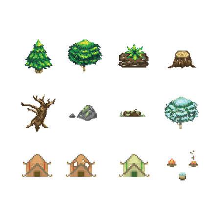 Collection d'icônes de camping Banque d'images - 79213288
