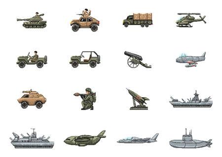 set van militair voertuig en wapens