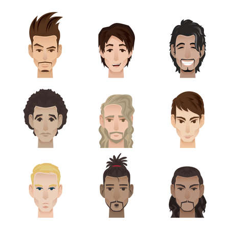 collection of men with facial expression
