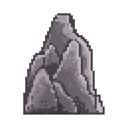 Pixelated boulder Stock Illustratie