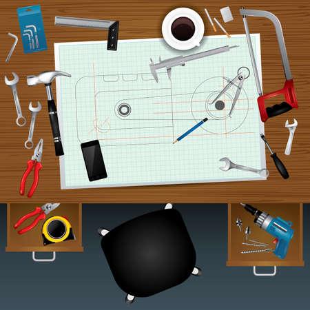 klusjesman werkruimte ontwerp Stock Illustratie