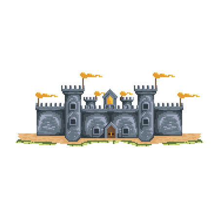 pixelated castle structure 向量圖像