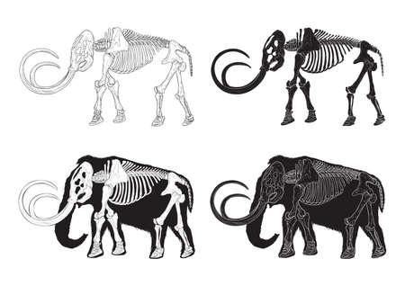 Satz von Mammut-Ikonen Standard-Bild - 79213343