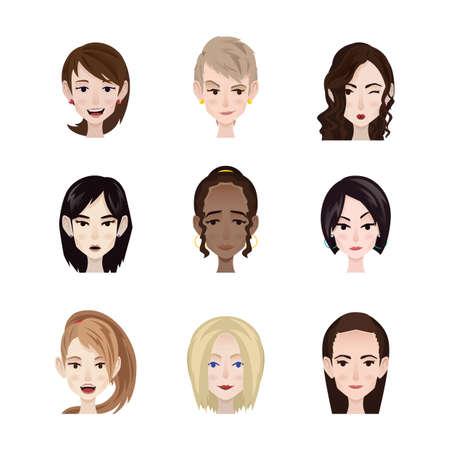 顔の表情を持つ女性のコレクション