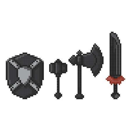 武器と盾のアイコンをパック