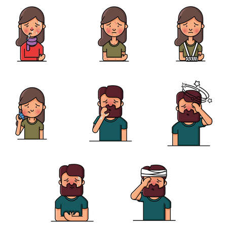 man and woman sick icon pack
